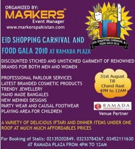 Eid shopping festival and food gala 2010 for pakistan flood victims charity