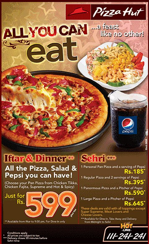 Pizza Hut Karachi Ramadan Deals for Sehr o iftar