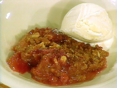Plum and walnut crumble