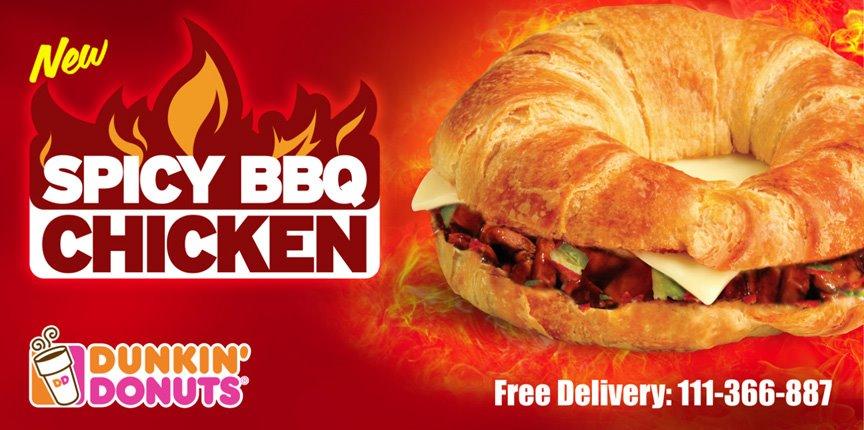 Spicy BBQ Chicken sandwich at Dunkin Donuts