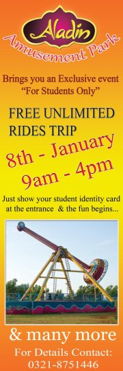 Free Unlimited Rides Trip of Aladin Amusement Park Karachi