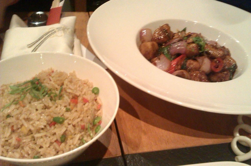 Thai chicken with cashew nuts & vegetable fried rice at noodle house karachi