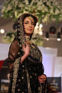 Iman Ali wearing a dress from Sadaf Arshad's bridal collection at the PBCW.