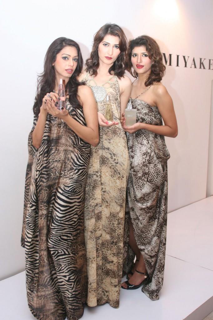 Models showcasing issey Miyake fragrances