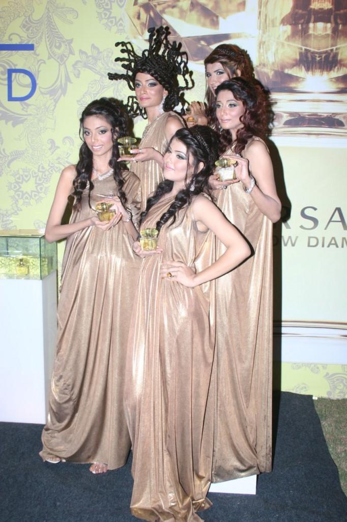 Versace models wearing Maheen Karim