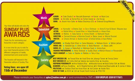 Sunday Plus Awards 2012