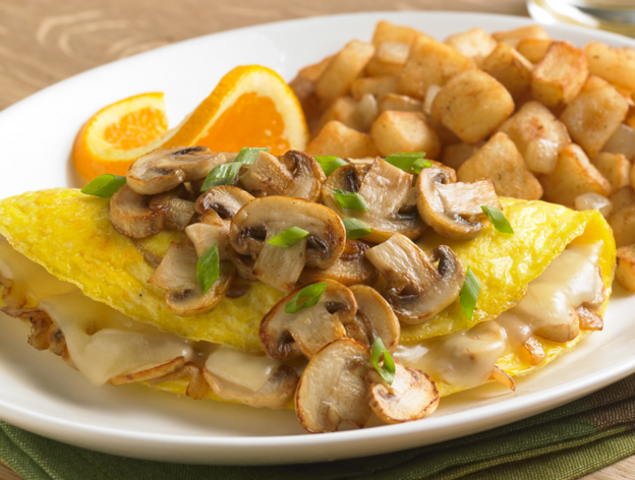 Chicken Omelette with Sauteed Mushrooms