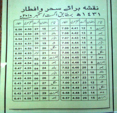 Ramadan Calendar 2010-Sehar-o-Iftar timings in Karachi