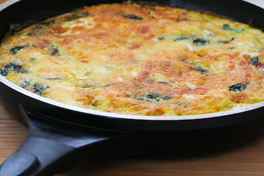 breakfast frittata with cheese and spinach