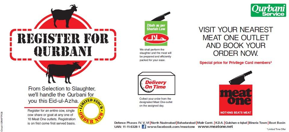 Meat One Qurbani Service for Eid ul Adha 2012