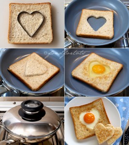 step by step egg in toast breakfast for Valentines Day