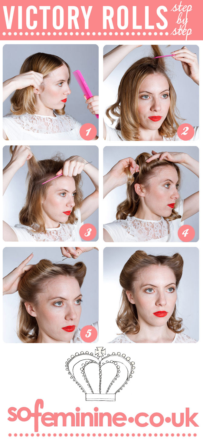 Step by step guide to make Victory Rolls hairstyle